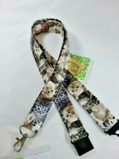 Lots of cats & kittens cotton fabric lanyard safety clip ID badge holder gift A