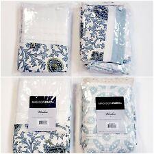 Madison Park Printed & Pieced Rod Pocket Kitchen Tier Pair & Valance Blue Beige