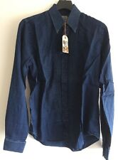 SIZE S NUDIE JEANS CO HANDS PINTUCKS INDIGO DRESS SHIRT 100% AUTH