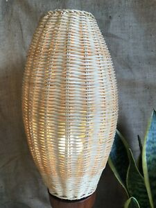 Vintage Woven Wicker Cane White  Wire Oval Cocoon Shape Pendant Lamp Shade Light