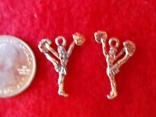 30 Antique Silver Cheerleader, cheering charms DIY crafts, earrings, necklaces B