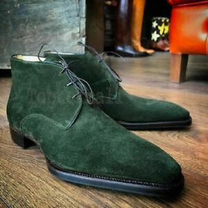 Handmade Men's Leather Suede Green Formal Dress Fashion Chukka Stylish Boots-427