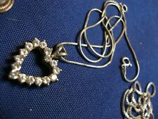 Gem Stone Heart Necklace Grandmas Estate 925 Sterling Silver