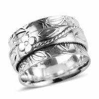 925 Sterling Silver Elegant Spinner Promise Band Ring Gift for Women Size 7