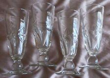4 verre s à absinthe - verre taillé motifs fleurs ou soleil - collection bistrot
