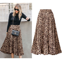 Plus Size Leopard Print Animal Skirts Dresses Long Pleated A Line Spring Summer