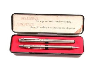 Vintage Boxed Pentel - Rollerball Pen & Pencil Set -- Black Ink -- S455 0.5mm