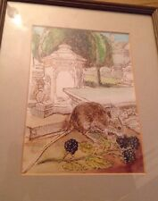 Original Pen & Watercolour Of Painswick Yews & Tombs & Mouse, Signed RWT