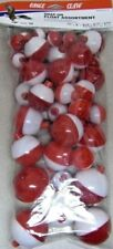 50 Assortment Eagle Claw Fishing Bobber Round Floats Red & White Snap On Float