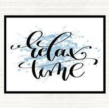 Blue White Relax Time Inspirational Quote Mouse Mat Pad