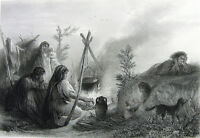 Travelling GIPSY GYPSY FAMILY Cooks BY CAMP FIRE ~ Old 1882 Art Print Engraving