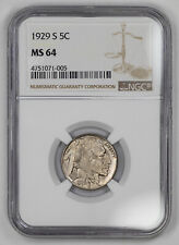 1929 S BUFFALO NICKEL 5C NGC CERTIFIED MS 64 MINT STATE UNCIRCULATED (005)
