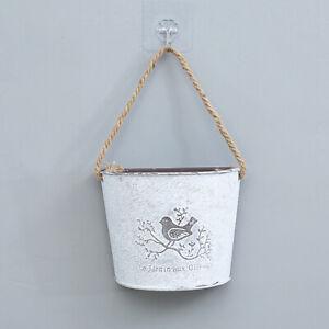Hanging Flower Basket - Galvanized Holder/Vase Wall Planters Decor Hanging