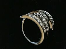 FASHION RING - Polished White Metal with Swarovski Crystals