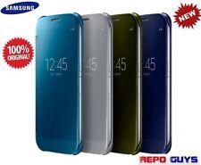Genuine Samsung Galaxy S6 EF-ZG920B CLEAR View Flip Case Cover: Blue / Gold