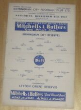 Birmingham City Reserves v Leyton Orient Reserves 21/12/1957
