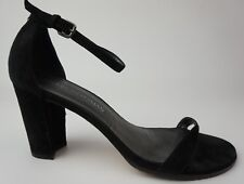 Stuart Weitzman NearlyNude Ankle Strap Sandal Black Suede Size 9 M