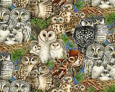 1 yard Owl Families by Tracy Lizotte Elizabeth's Studio Cotton Fabric 4326 Multi