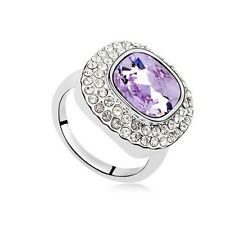 VINTAGE INSPIRED PURPLE 18K WHITE GOLD PLATED GENUINE CZ & AUSTRIAN CRYSTAL RING