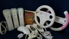 Wii Remote and Accessory Lot Bundle. Includes Remotes, Nunchucks, and Wheels