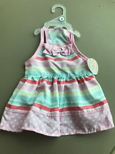 SIMPLY WAG Pastel Stripes Pink Polka Dots Summer DRESS Puppy/Dog-small
