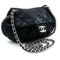 u75 CHANEL Authentic Chain Around Shoulder Bag Crossbody Black Calfskin Leather