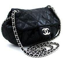 u75 CHANEL Authentic Chain Around Shoulder Bag Crossbody Black Calfskin Leather
