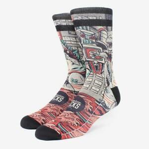 American Socks Godzilla Mid High Socken - unisex Skatersocken - red / black