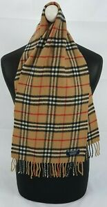 BURBERRY SCARF 100% LAMBSWOOL SHORT MADE IN ENGLAND BEIGE WITH MINOR DEFECTS