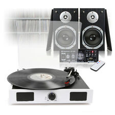 White LP Vinyl Record Player, Home Hi-Fi Stereo Speakers and Amplifier USB/FM/SD