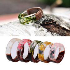 Handmade Wooden Resin Plant Ring Nature Flower Grass Ring Wood Ring Novelty Gift