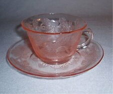 Dogwood Apple Blossom Pink Depression Glass Cup Saucer/s