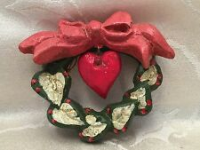 House Of Hatten Christmas Ornament Heart Wreath 1991 H Of H Bow Holiday Decor 4""
