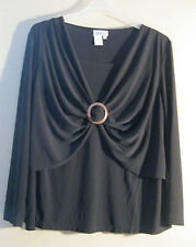 XL Blouse Coldwater Creek New Black Stretchy LOVELY DESIGN AND TAILORING!  [d88]