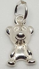 925 Sterling Silver Teddy Bear 10 mm charm with 4 mm Closed Jump ring  UK seller