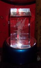 DISNEY TINKERBELL 3-D CRYSTAL CUBE WITH LED MULTI COLOR BASE EXCELLENT CONDITION