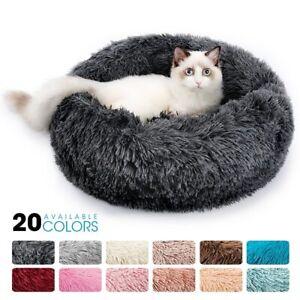 ✅Round Plush Cat Bed House Cat Mat Winter Warm Sleep Cats Nest Soft Long Plush