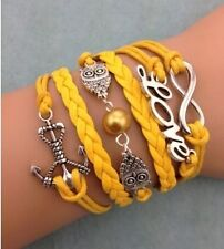 NEW Infinity Love Owl Anchor Pearl Leather Charm Bracelet plated Silver DIY