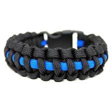 550 Paracord Survival Bracelet Cobra Thin Line Police Black/Blue