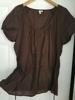 Women's St.John's Bay 100% Cotton Brown Embroidered Short Sleeve Peasant Top XL