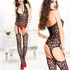 Black Lace Net Faux Garter Suspender Pantyhose Bodystocking Bodysuit Lingerie