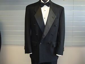 Christian Dior 100% Wool Black Double Breasted Tuxedo Jacket - 39 Long