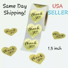 (U Pick Qty) THANK YOU Heart Stickers Gold Envelope Seal Labels Package Gift 1.5