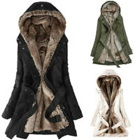 Women Winter Solid Warm Coat Plush Thick Hooded Long Jacket Overcoat Top Clothes