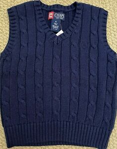 Chaps Ralph Lauren Cable Knit Sweater Vest  4 4T Navy Blue  NWT FREE