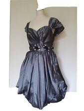 Vestido de Noche dinastía Londres con cuentas Gris Plata, Dobladillo Burbuja. especial Occ Talla 12