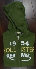 HOLLISTER Mens Zip Front Hoodie Hooded Sweat Top Jacket Distressed Green Small