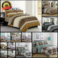 100% Egyptian Cotton Duvet Quilted Cover Double King Bedding Set Fitted Sheet UK