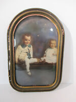 "Picture Frame Oval Convex Glass Wall Hanging Vintage Wood Large 12""x18"" Boys"