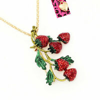 Betsey Johnson Red/Green Enamel Strawberry Fruit Pendant Chain Necklace/Brooch